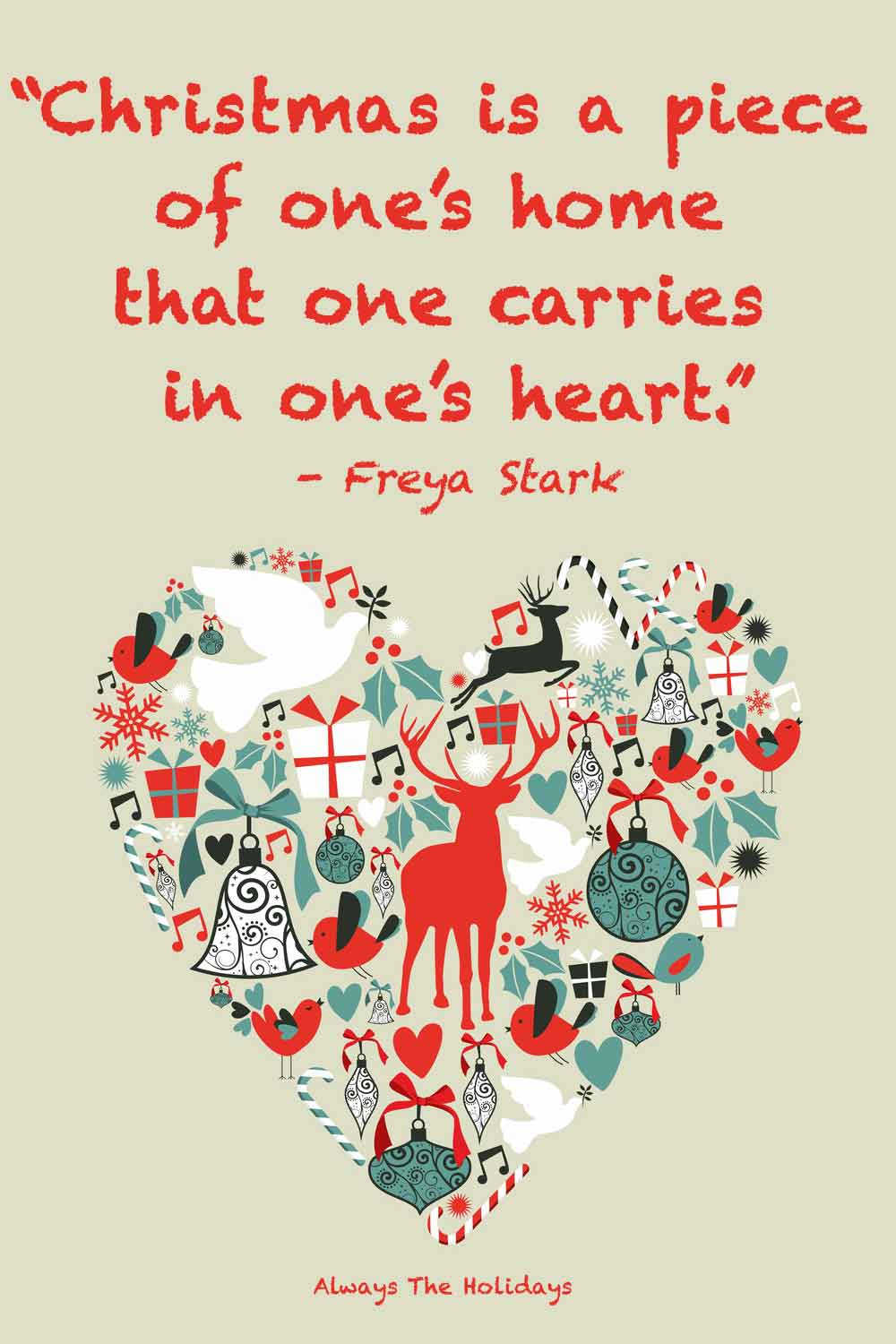 A heart filled with Christmas themed things, with a childhood Christmas quotes text overlay on top.