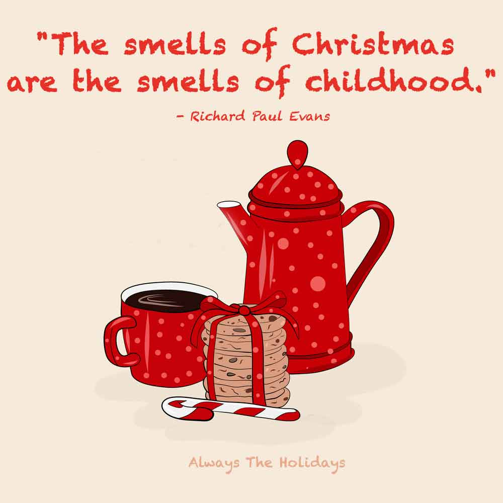 A stack of cookies, mug of coffee, candy cane and coffee carafe on a beige background with a quote about Christmas childhood memories over it.