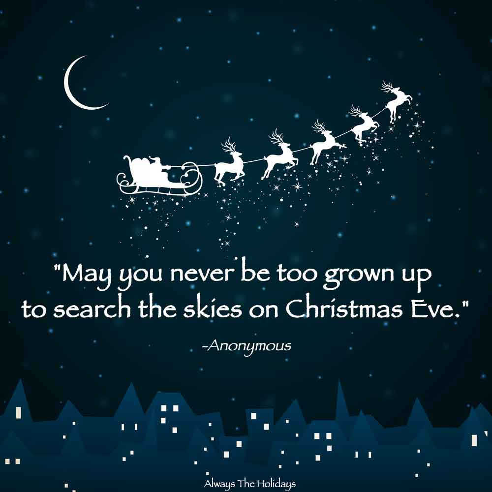 A cartoon sleigh with reindeer flying through the sky over a row of buildings with a Christmas childhood quotes text overlay on top.
