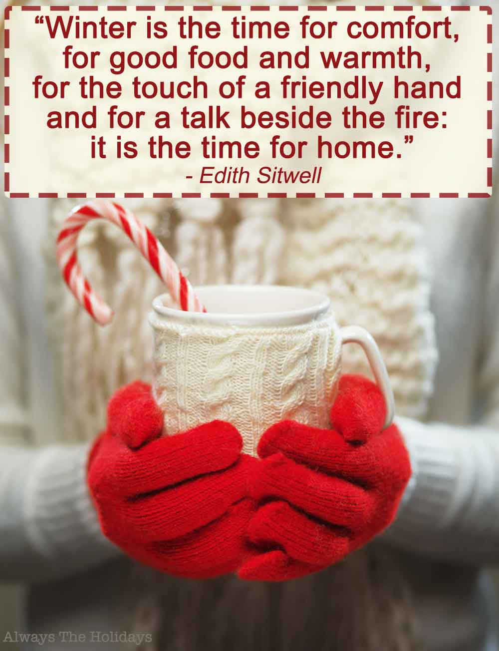 Two hands in red gloves holding a white mug with a peppermint stick and a text overlay with Christmas family quotes on it.