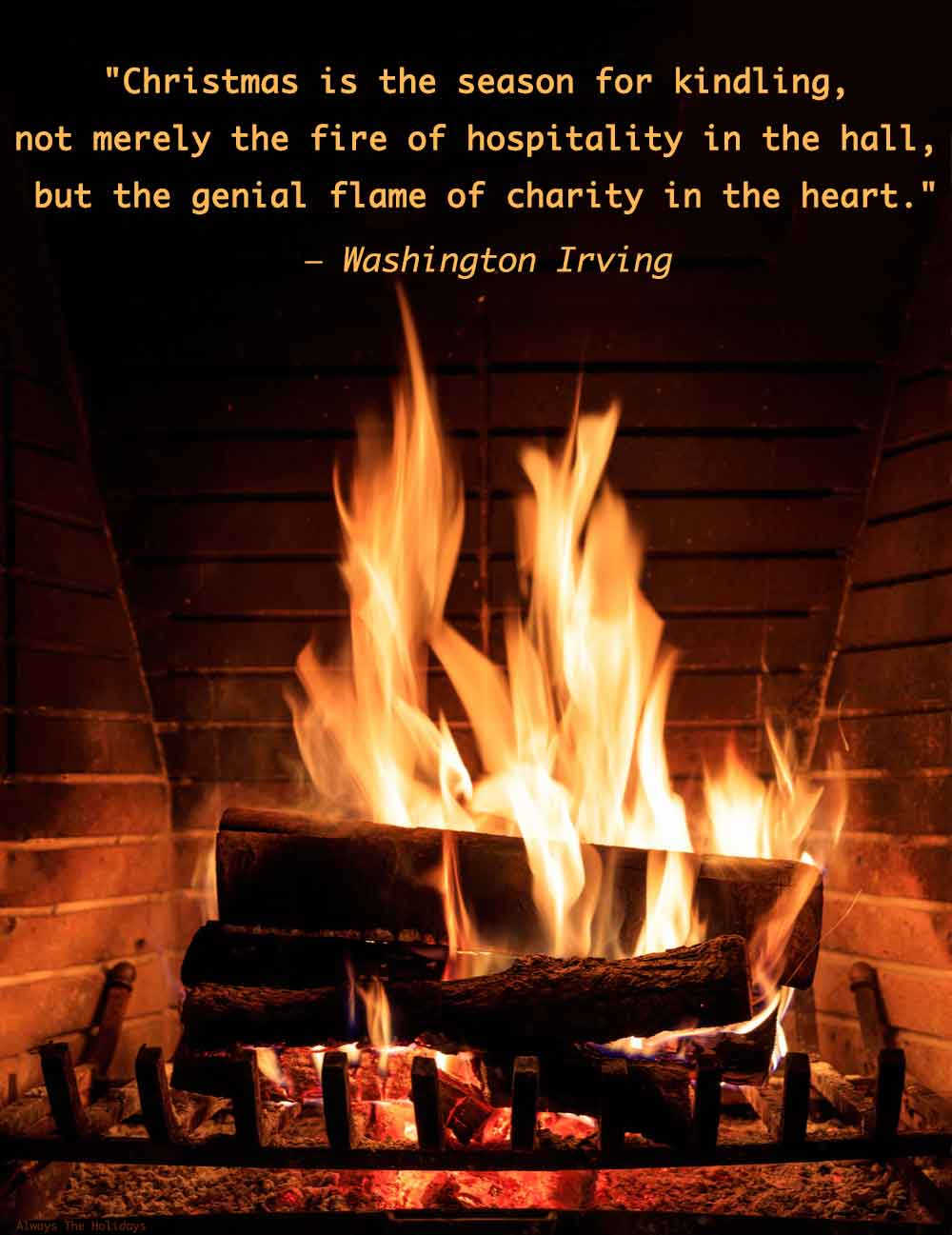 A fire burning in a fireplace with a Christmas quote about giving as a text overlay.