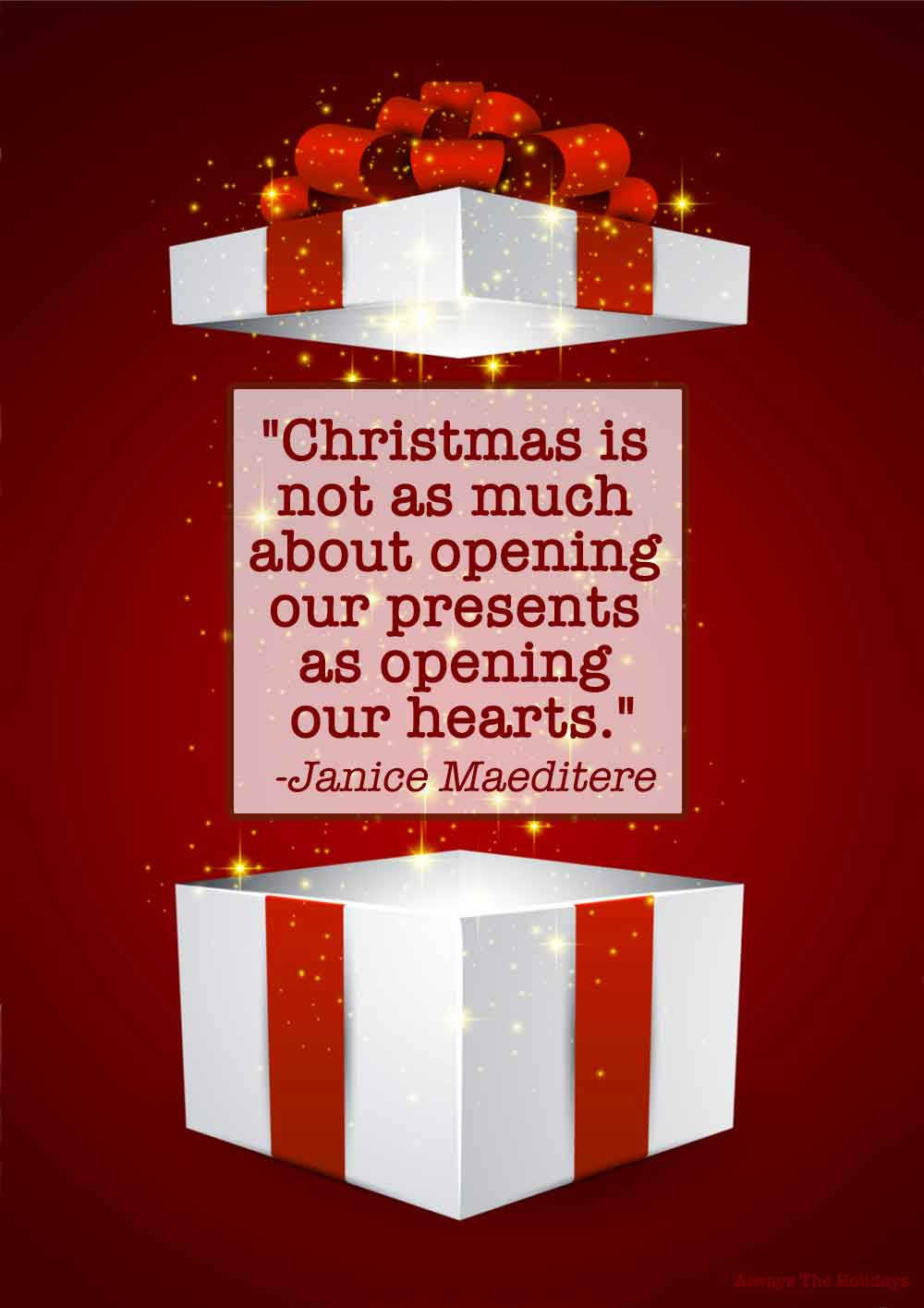 A white box with a red ribbon with the lid levitating off of it, with a Christmas gifts quote text overlay on it.