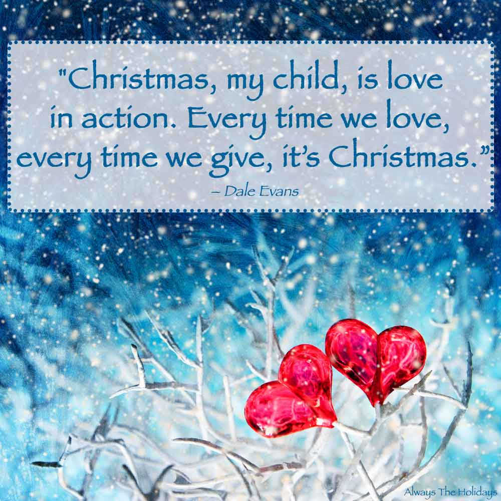 A Christmas love quote over a photo of a white branch on a blue background with snow falling and two red hearts on the branch.