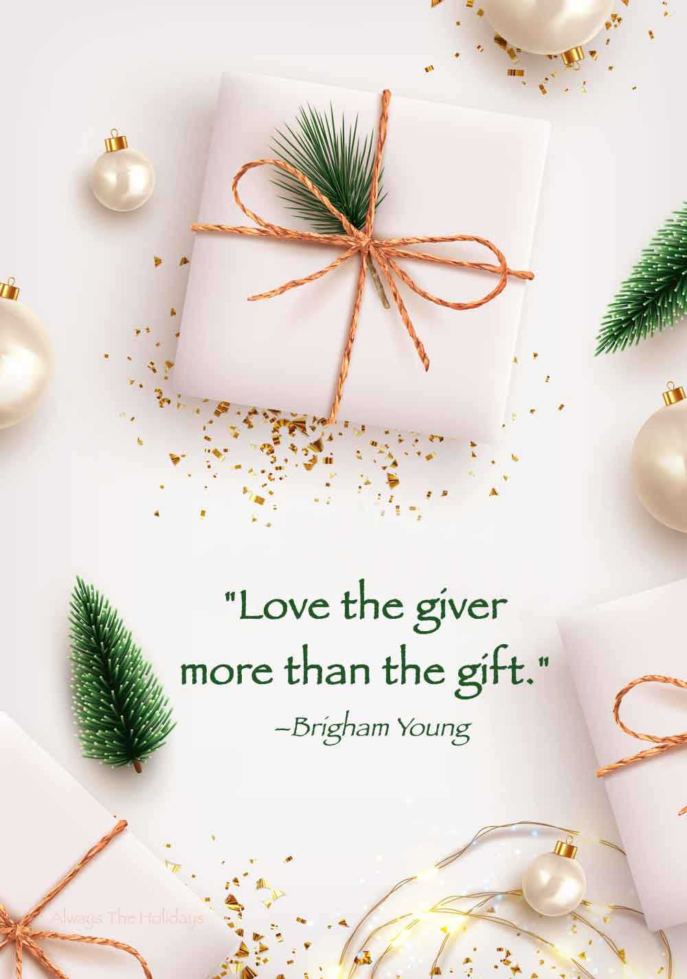 White presents with jute ties, white ornaments and tiny green trees on a white background with a Christmas love quote on it.