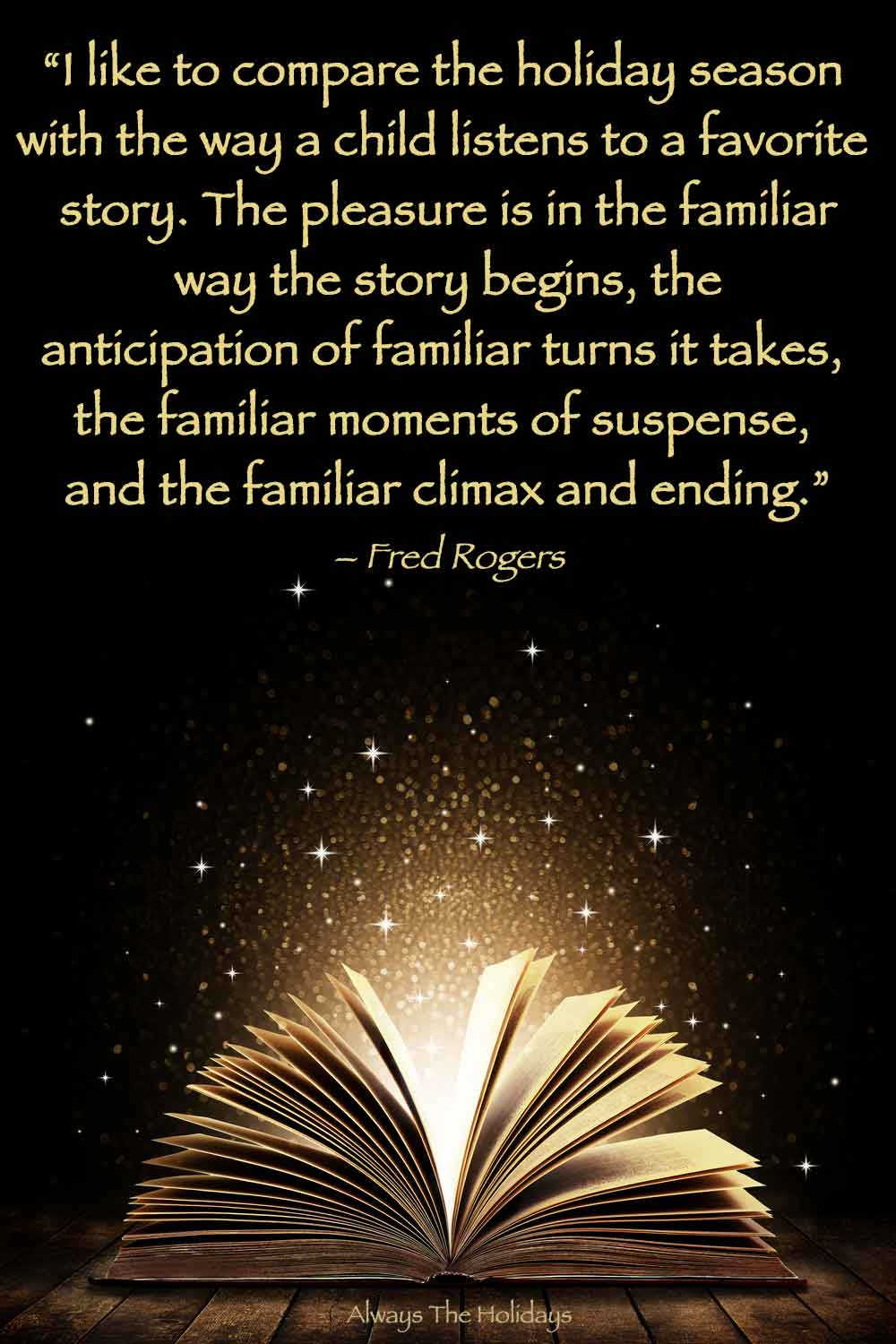The pages of a book open, with light coming out of them and a Christmas magic quotes text overlay on top.