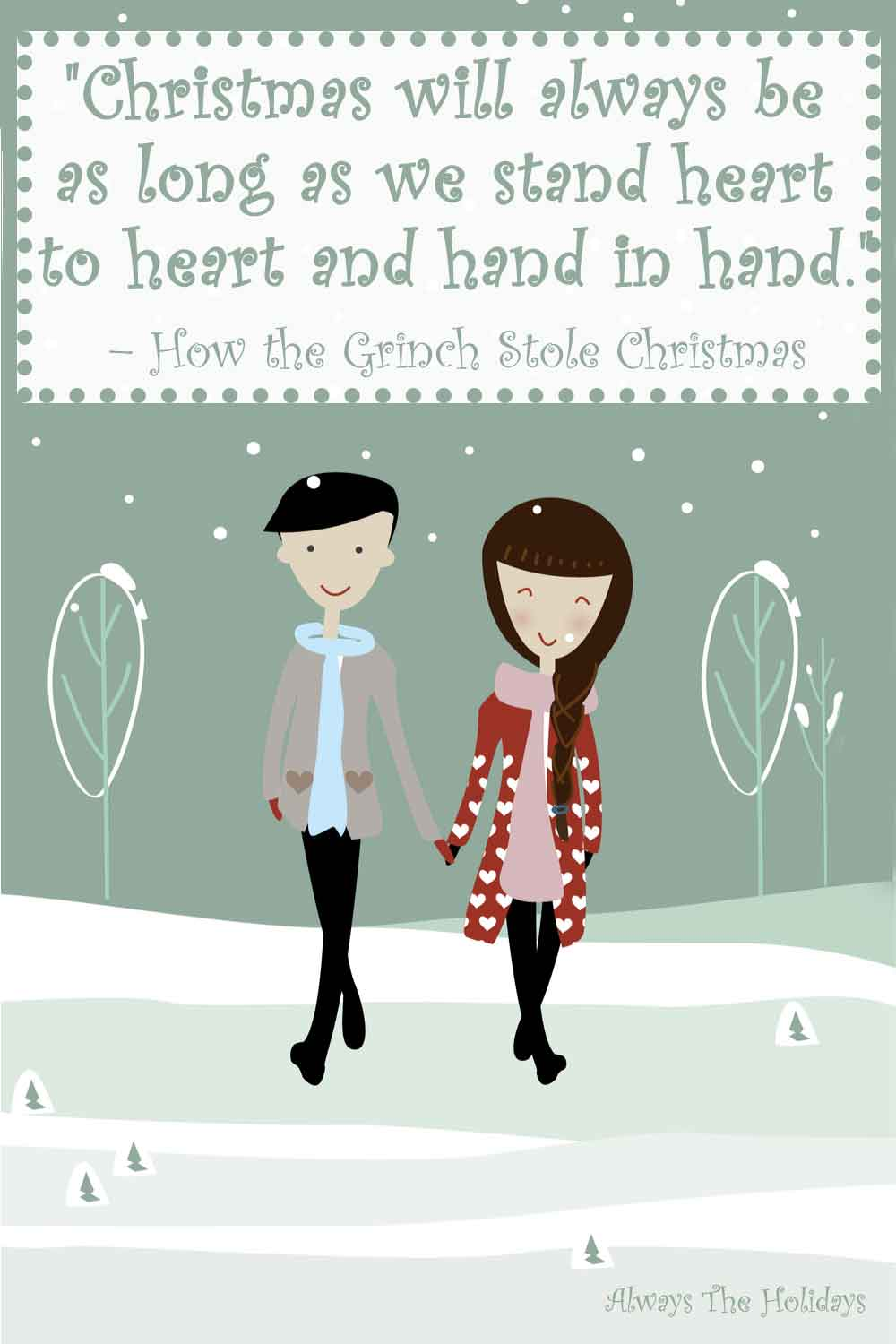 A cartoon couple holding hands walking in the snow with a Christmas movie quote text overlay.