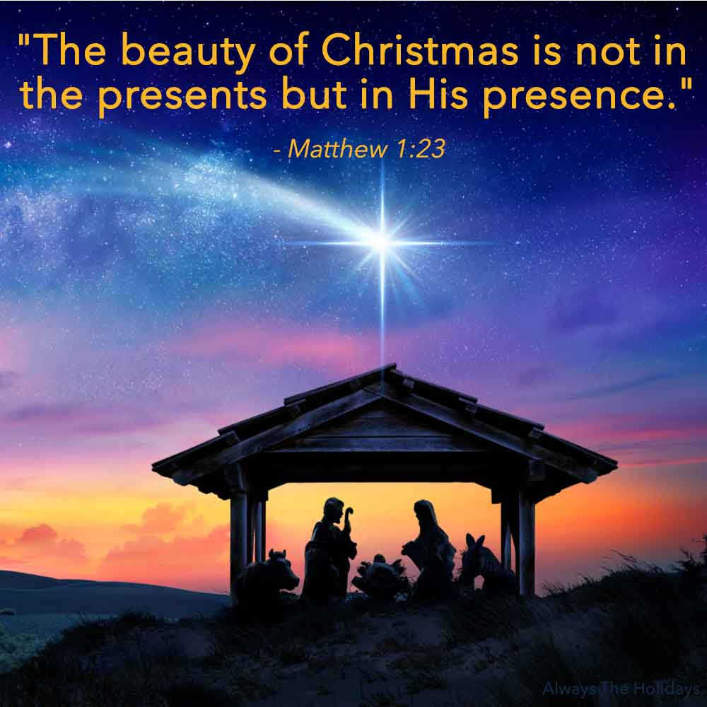 A Christmas nativity scene at sunset with a religious Christmas quotes on it.