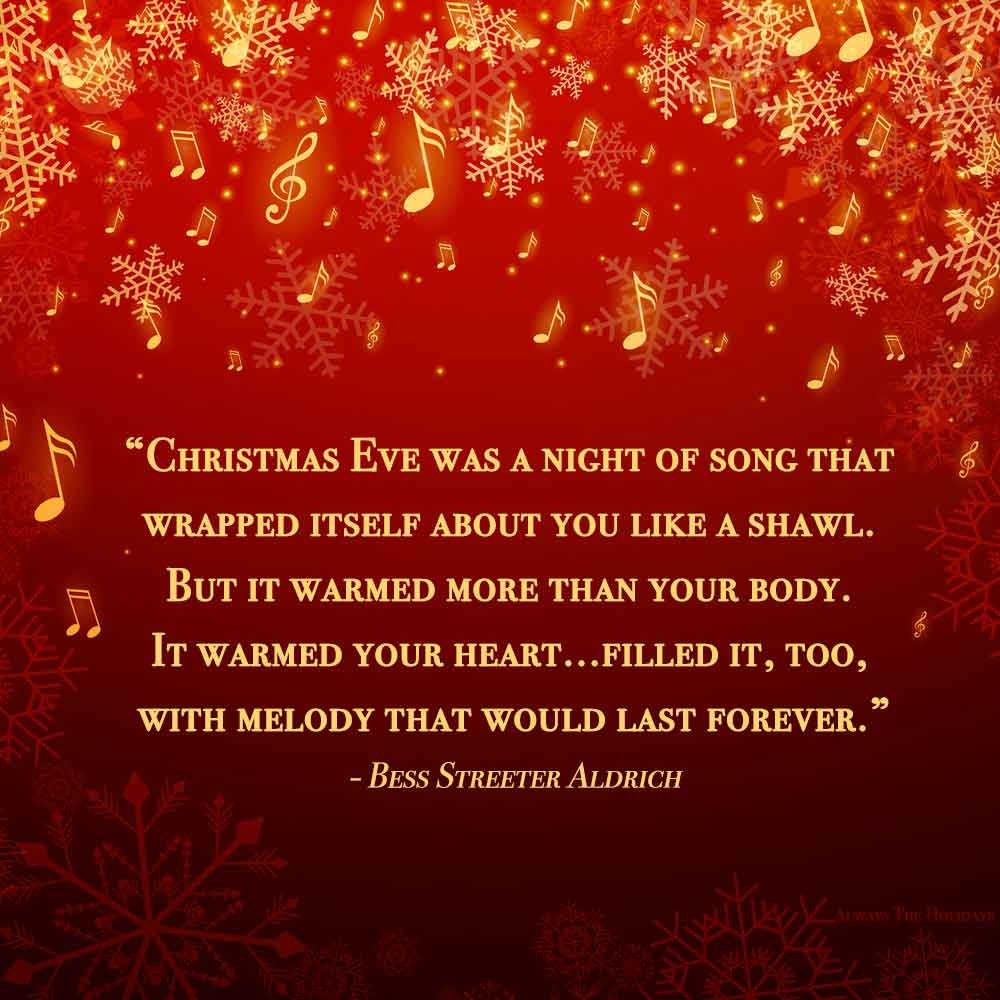 A Christmas quote about love on a red background with music notes and symbols all over it.