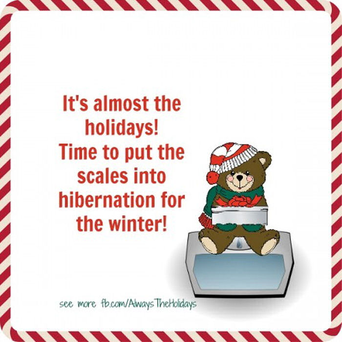 A funny Christmas quote on a white background next to a cartoon bear sitting on a scale.