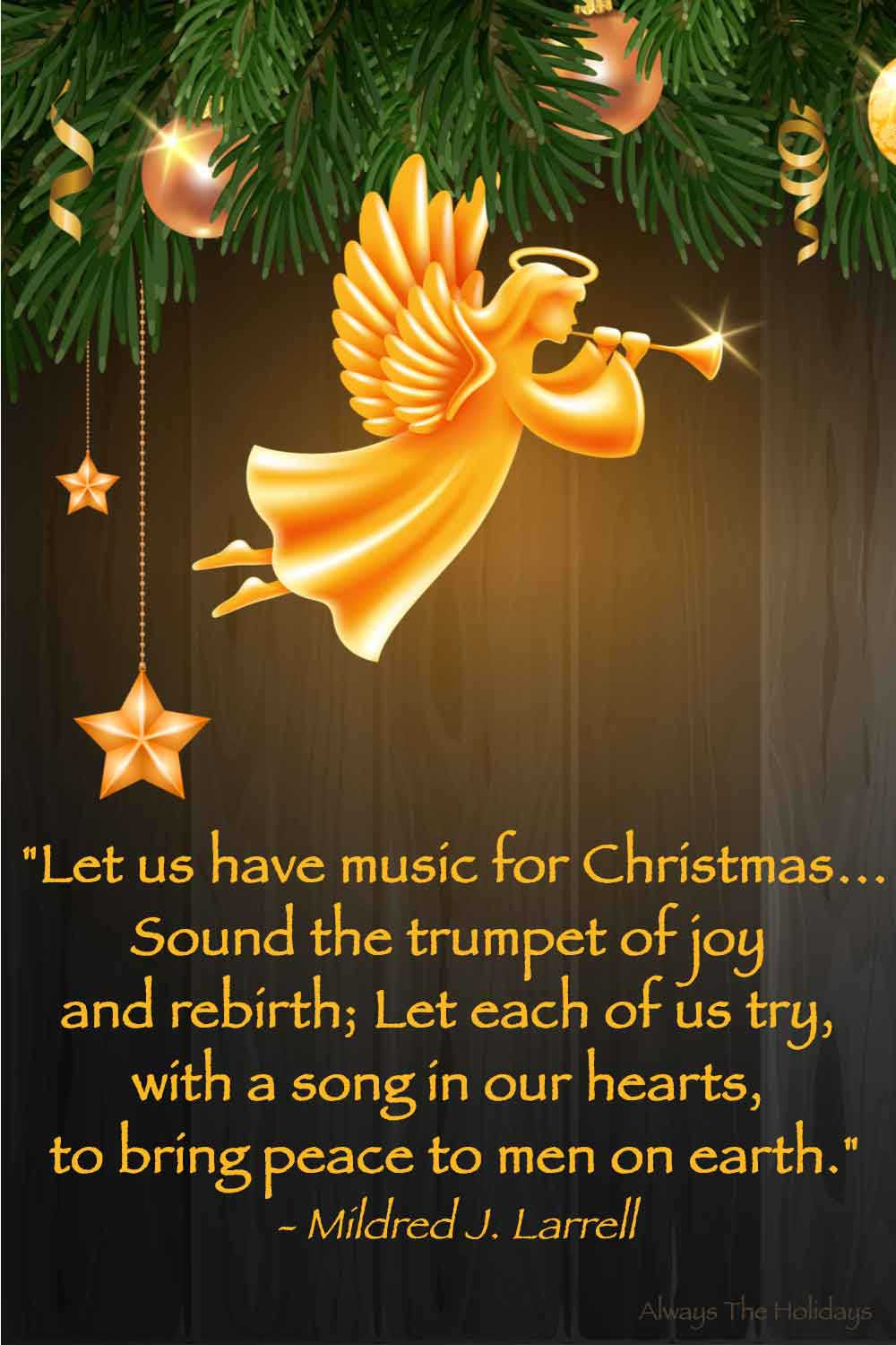 A golden angel with a trumpet in greenery against a wooden background with a text overlay of a religious Christmas quote.