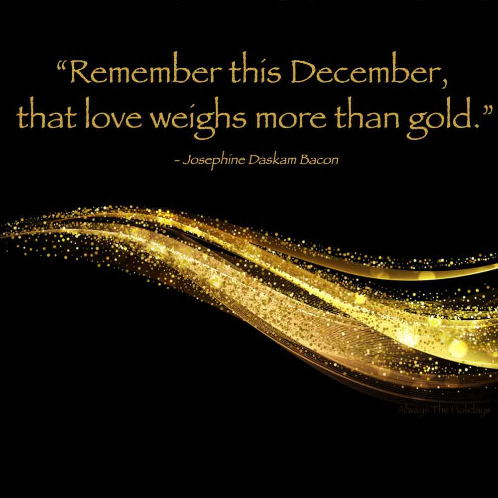 A gold wave in the middle of a black background with a Christmas quote about love as a text overlay on it.