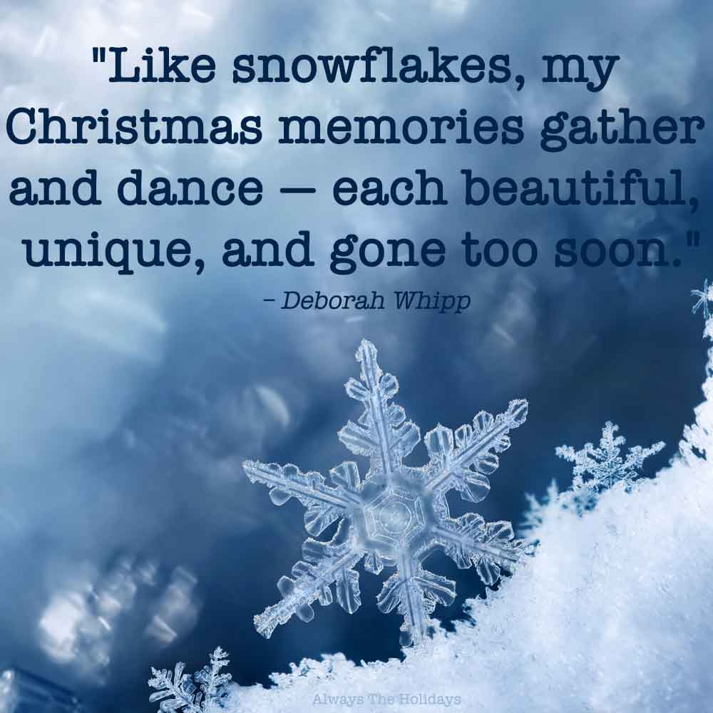 Large snowflake in a pile of snow on a navy background with a Christmas snowflake quote text overlay.