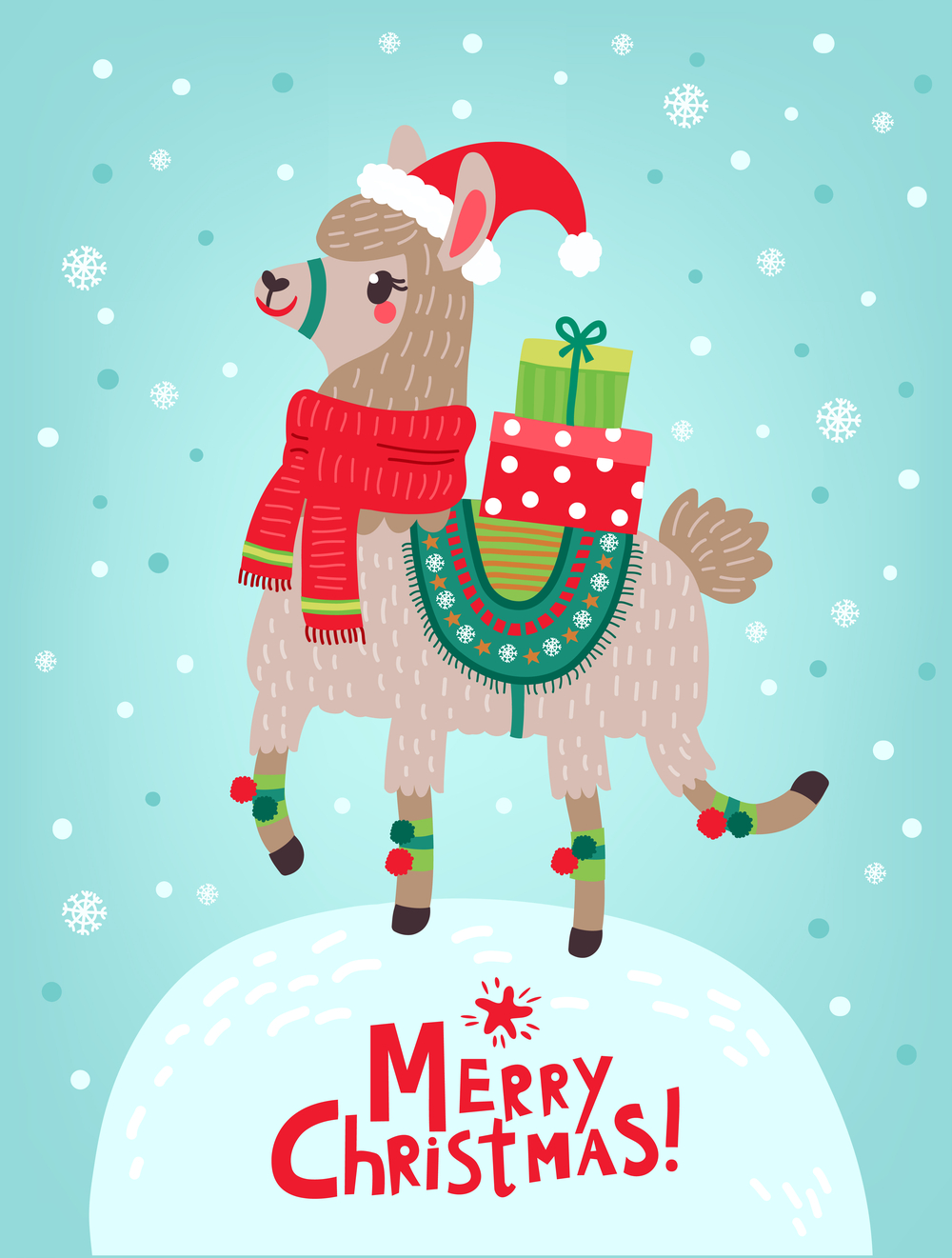 """A llama dressed up for Christmas with presents on his back, standing on a snow hill with a text overlay reading """"Merry Christmas""""."""