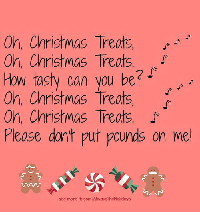 Funny Christmas quotes on a peach background with cartoon gingerbread men and candies at the bottom.