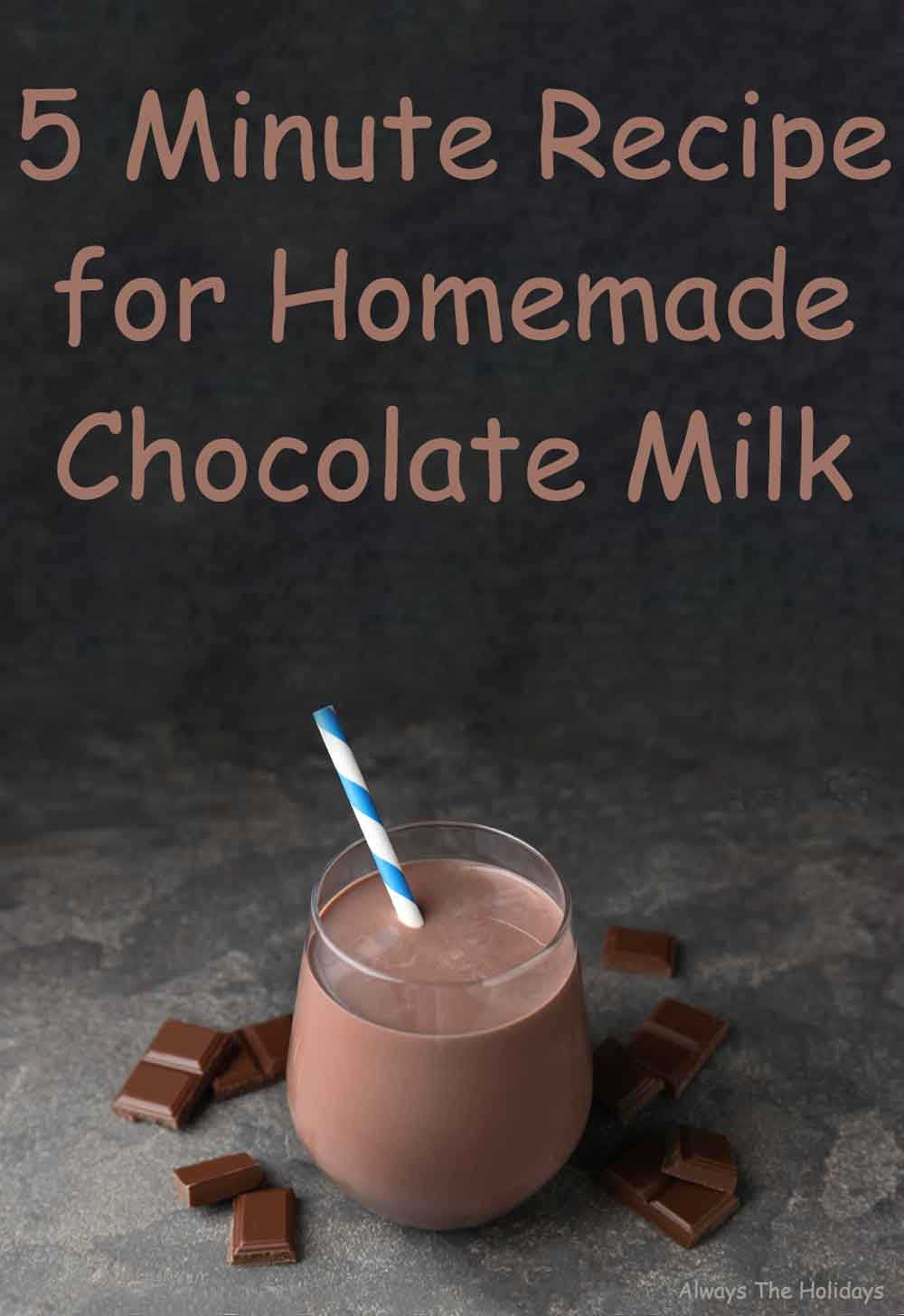 """A glass of chocolate milk against a slate backdrop with a text overlay that reads """"5 minute recipe for homemade chocolate milk""""."""
