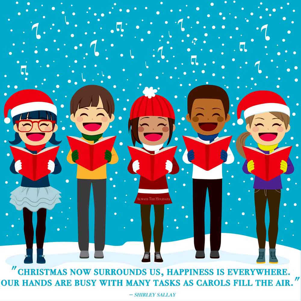 A group of five caroling cartoon children standing in a snowfall, with a inspiring Christmas quotes beneath their feet.