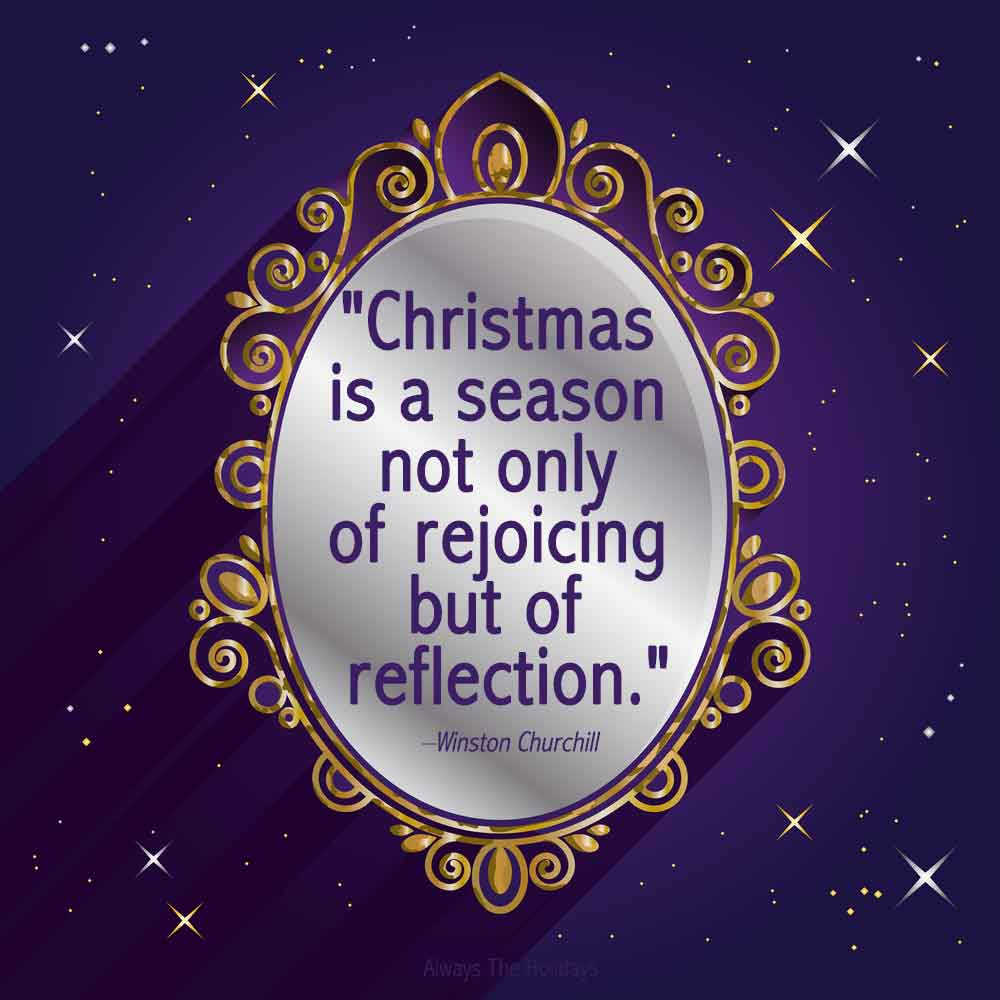 A mirror with a golden frame and an inspiring Christmas quotes text overlay in the center on a purple background with yellow and white stars.