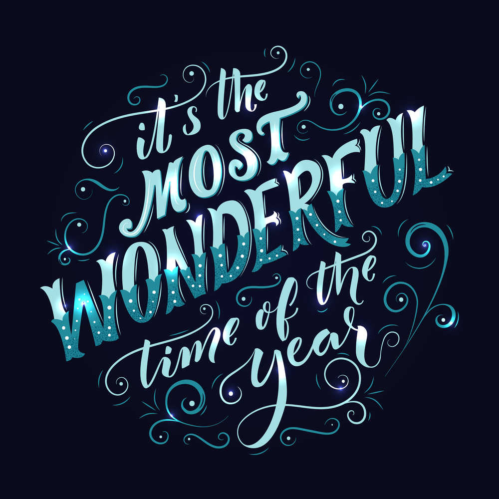 """A quote reading """"It's the most wonderful time of the year"""" in light blue font across a navy blue background."""