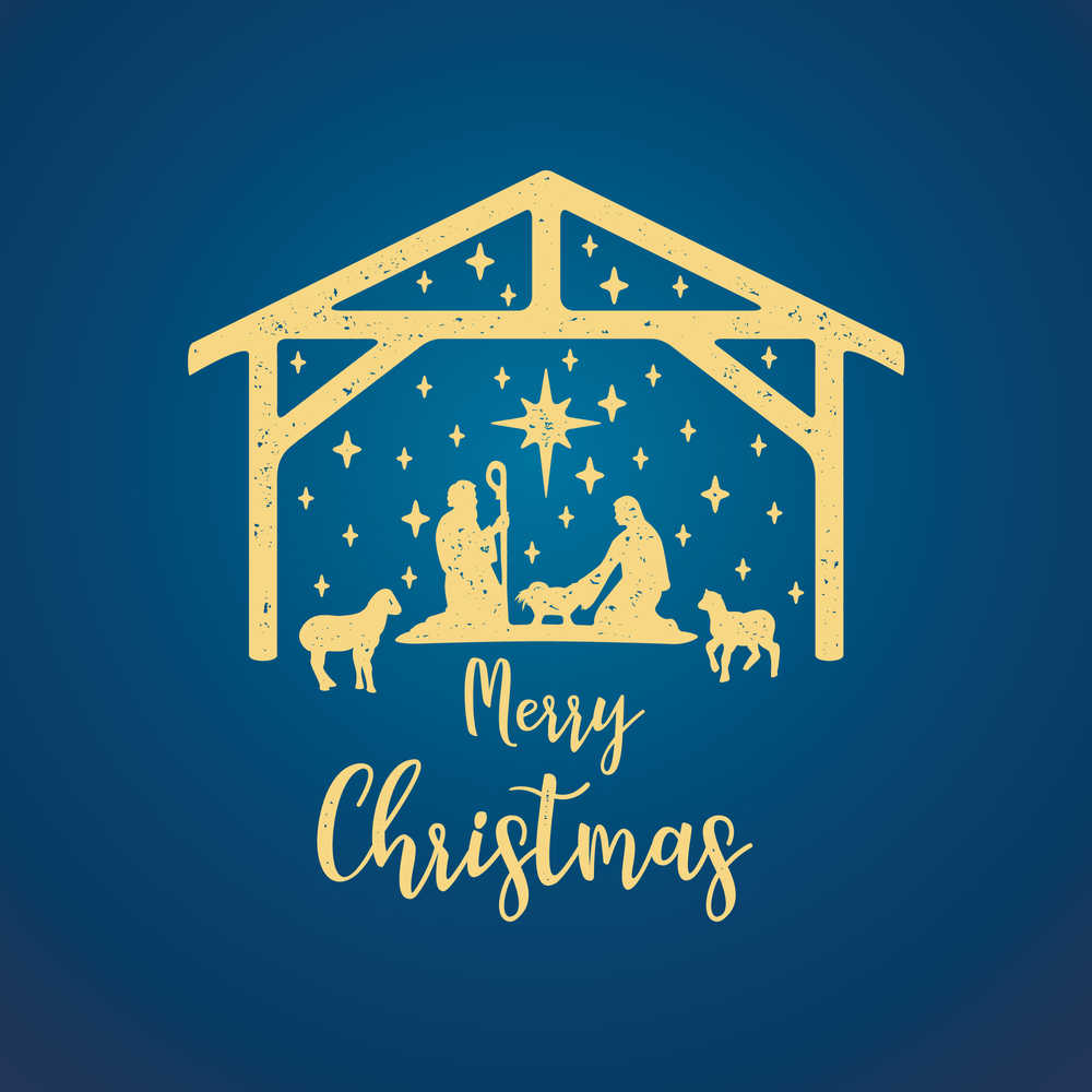 """A golden nativity drawing on a blue background with a text overlay that says """"Merry Christmas""""."""