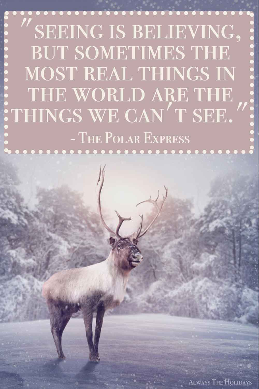 A reindeer standing in a snowy field in front of trees with a Christmas movie quote text overlay.