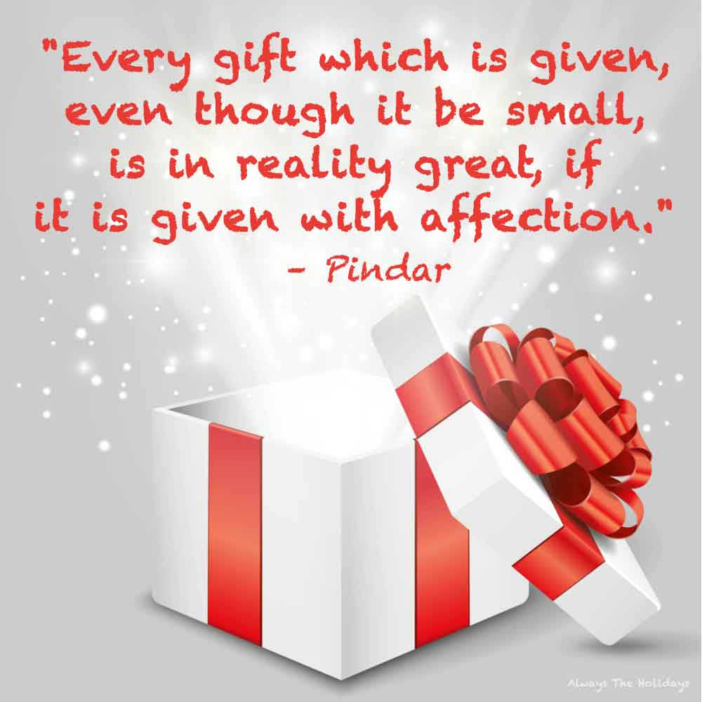 A white present with a red ribbon and the lid off of it, with a light coming out and a Christmas quote about presents on it as a text overlay.