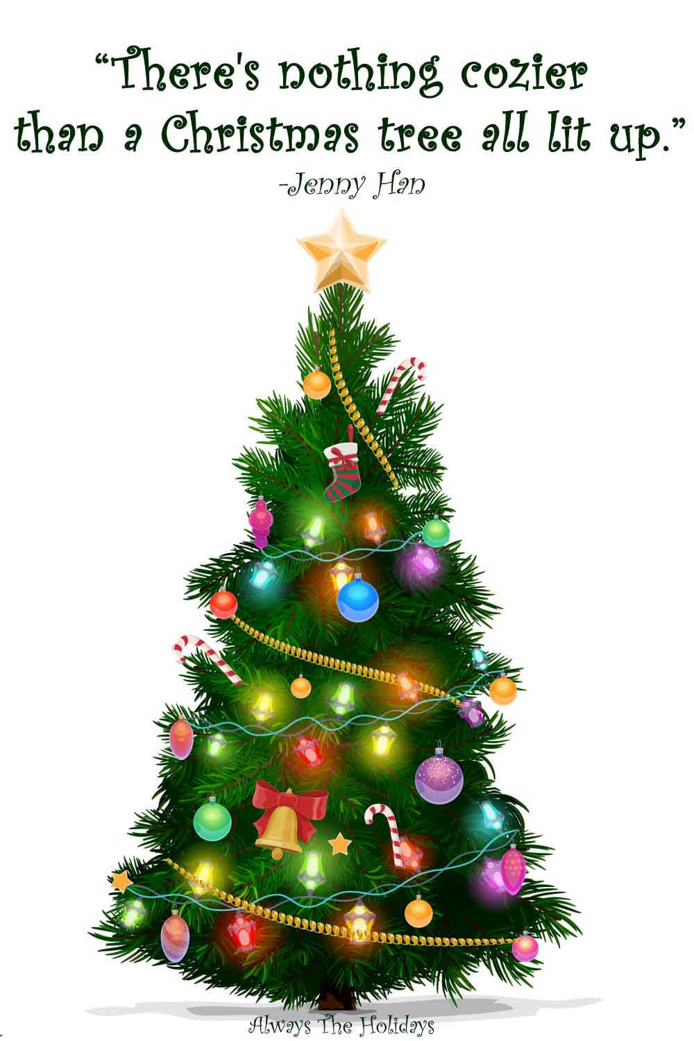 A cartoon Christmas tree with a quotes about Christmas trees text overlay.