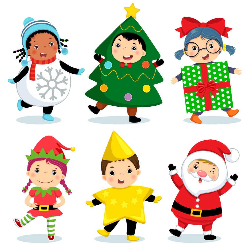 Children dressed up for Christmas like elves, shooting stars, Santas, presents, snowmen, and Christmas trees.