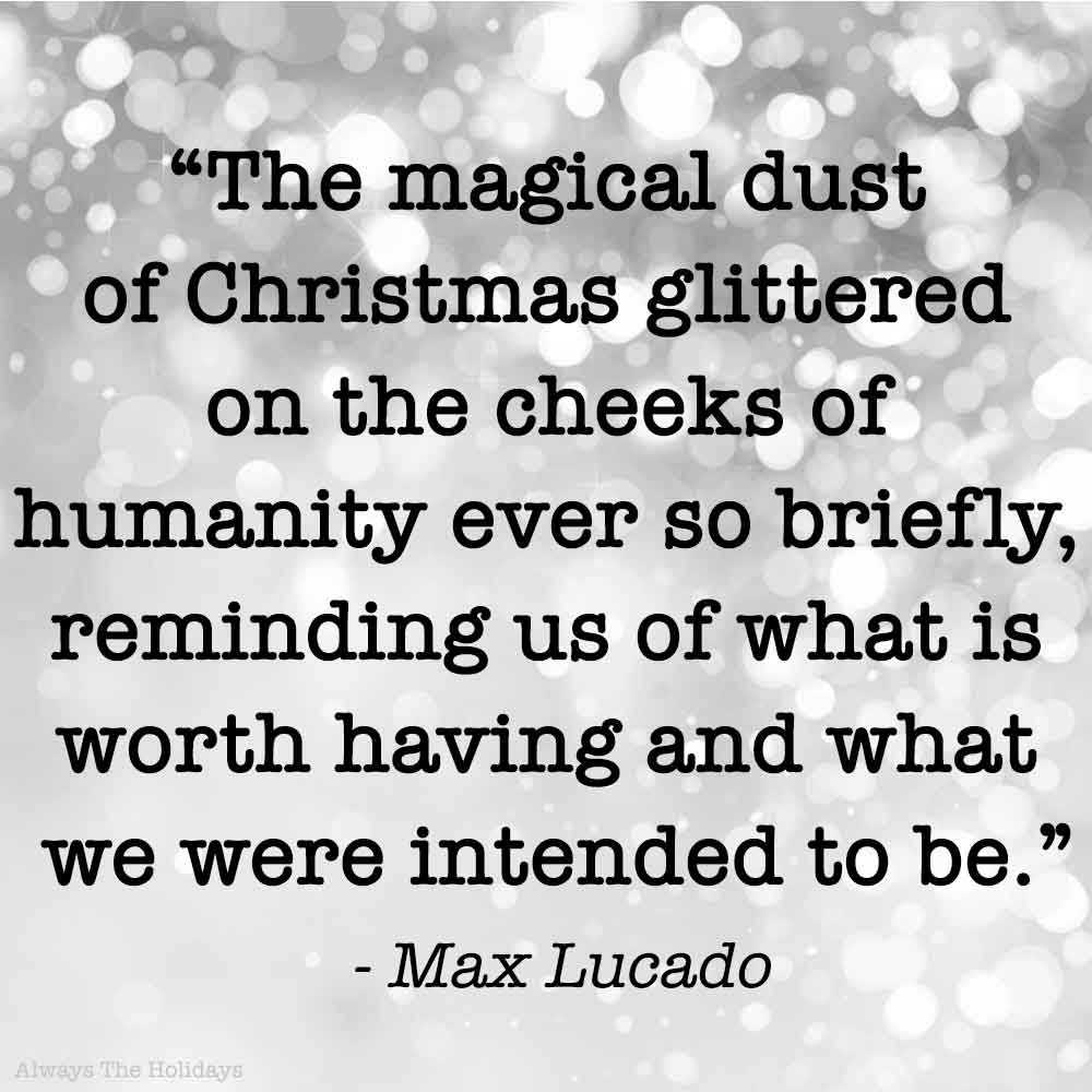A grey background with white spots, and a magic of Christmas quote as a text overlay.
