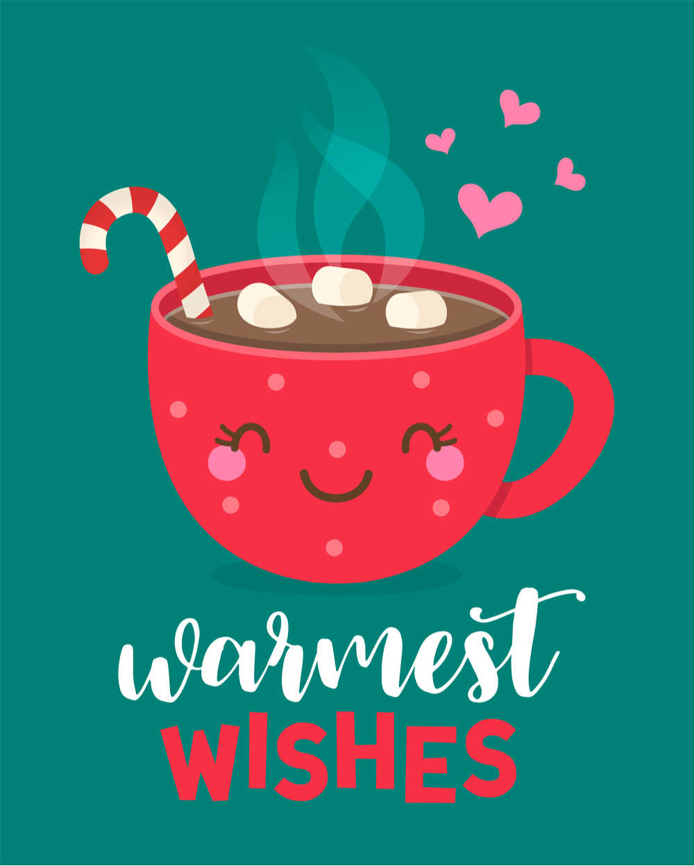 """A red smiling mug filled with hot chocolate and marshmallows with the words""""warmest wishes"""" under it."""