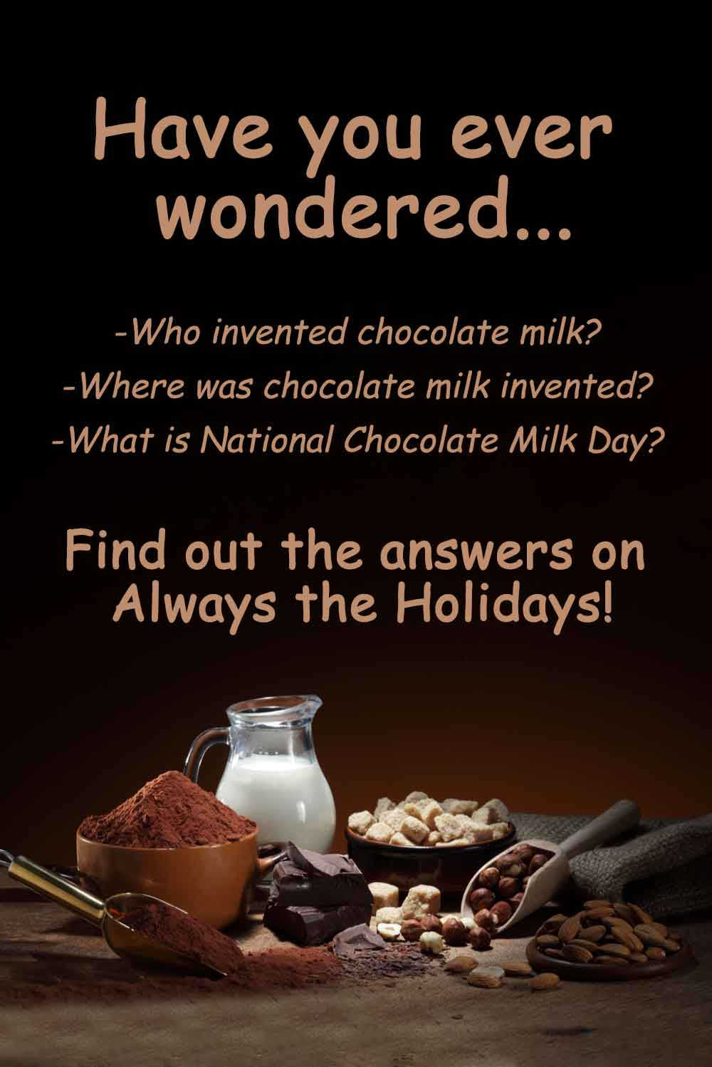 The ingredients for homemade chocolate milk with a text overlay asking who invented chocolate milk and where was chocolate milk invented.
