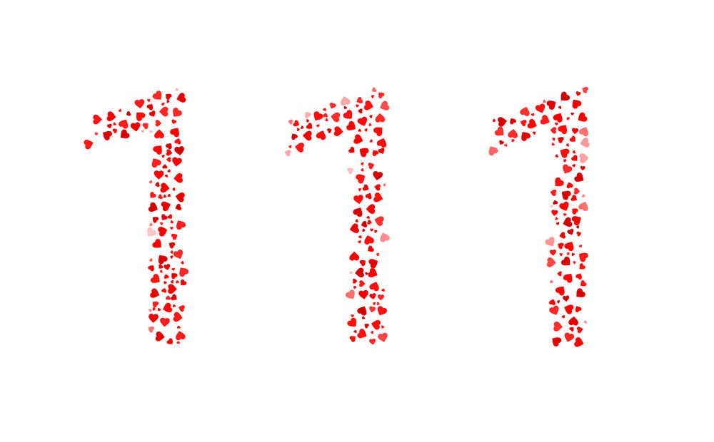 The numbers 111 made up of red hearts.