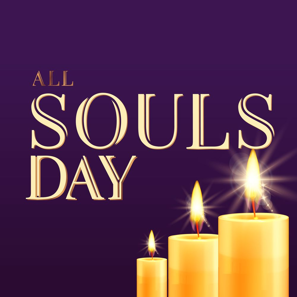 """Three candles agains a purple background and the words """"All Souls Day"""" to bring awareness to the difference between All Saints Day and All Souls Day."""