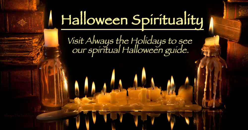 """A row of lit candles against a black background flanked by book piles with a text overlay that reads """"Halloween spirituality, visit always the holidays to see our spiritual Halloween guide."""