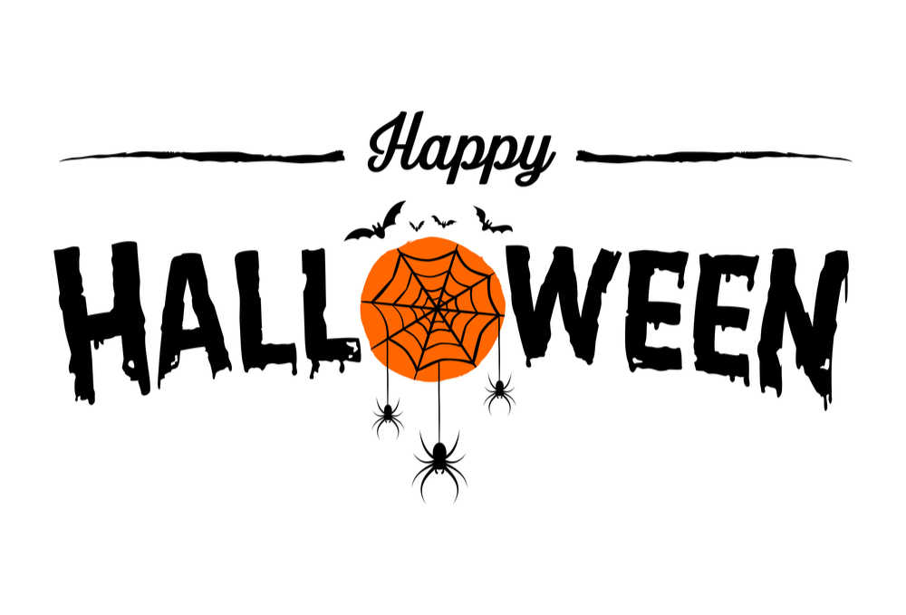 """Quote reading """"Happy Halloween"""" with a spiders web cartoon around the """"O"""" in """"Halloween""""."""