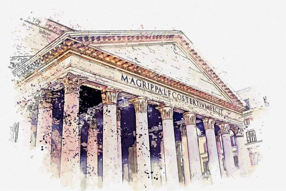 A watercolor painting of The Roman Pantheon, where All Saints Day was first observed as a holiday.