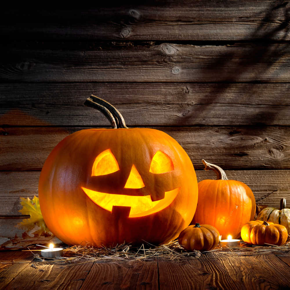 A carved jack-o-lantern on a porch next to other pumpkins celebrating the history of Halloween.