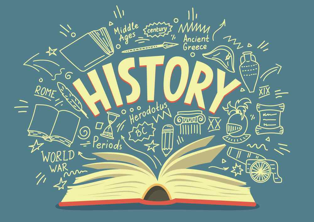 """A cartoon book laying open against a blue background with words and drawings above it including a large word that reads """"History""""."""