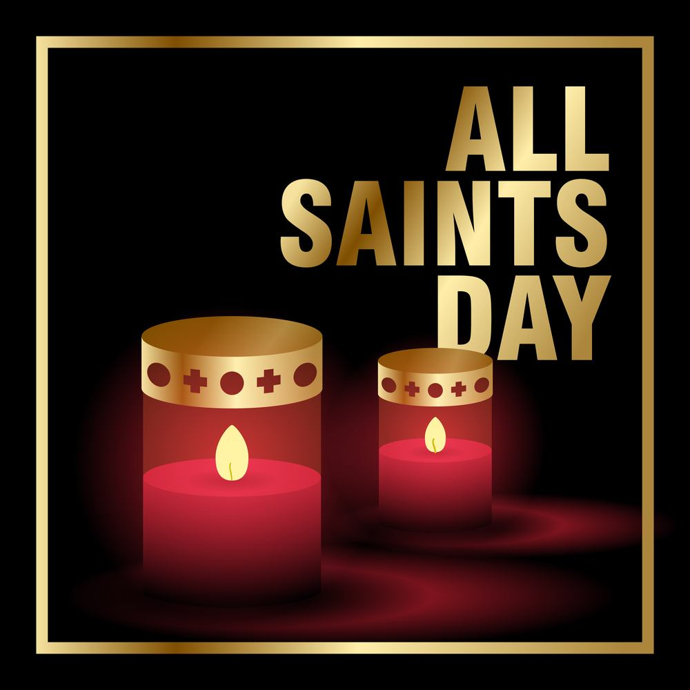 """Two red cartoon candles and the text """"All Saints Day"""" in a gold border.."""